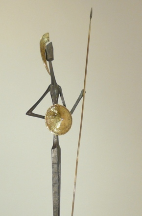 """""""guerrero II"""" - escultura de bronce & hierro forjado-serie guerreros, 2011"""
