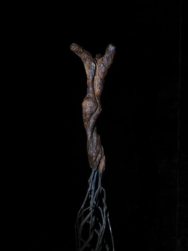 """""""amande""""- torso, escultura de acero y almendro, by Hans Some, España,2014"""